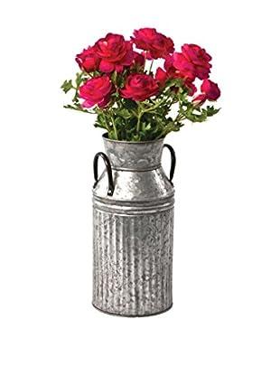 Skalny Galvanized Tin Milk Can Vase, Grey