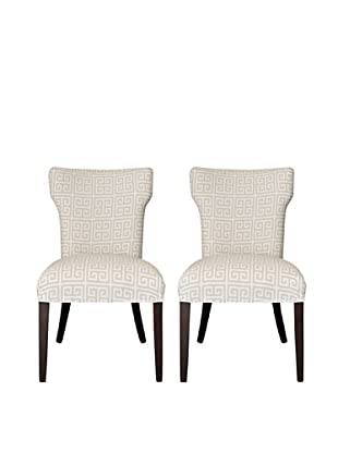 Sole Designs Set of 2 Kasumi Chain Wingback Chairs, Light Grey