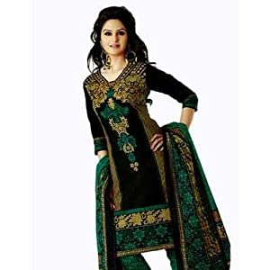 Salwar Studio Green & Black Cotton unstitched churidar kameez with dupatta AR-1117