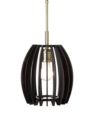 Woodbridge Lighting Canopy Wood Slat Crescendo Mini-Pendant, Classic Brass