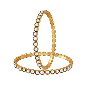 Spargz Round Pearl Studded Designer Bangle AIB 003 [Jewellery]