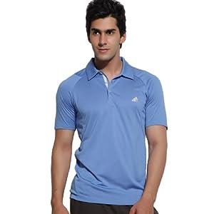 Adidas Blue Half Sleeves Men - Collared T-shirt