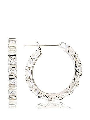 CZ by Kenneth Jay Lane Princess CZ Delicate Hoop Earrings