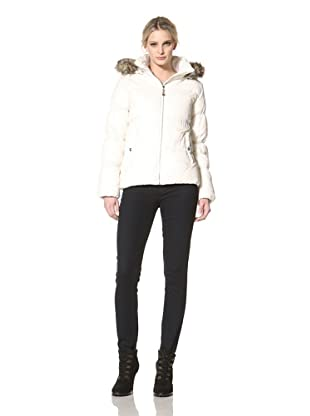 Sam Edelman Women's High Density Down Jacket with Faux Fur Trim (Ivory)