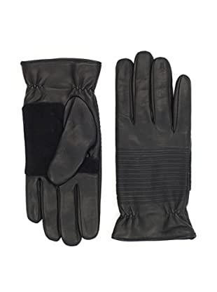 Portolano Men's Nappa Motorcycle Gloves with Suede (Black)