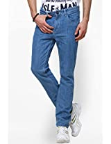 Solid Blue Slim Fit Jeans Yepme