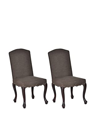 Classic Home Set of 2 Drake Side Chairs, Oak/Coffee
