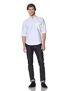 Shades of Grey by Micah Cohen Men's Long Sleeve Button-Up Shirt (Sky Blue/White)