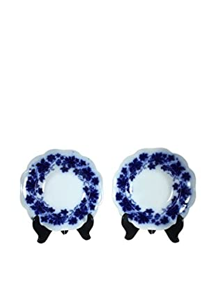 Pair of Flow Blue Vinranka Rim Soup Bowls, Blue/White