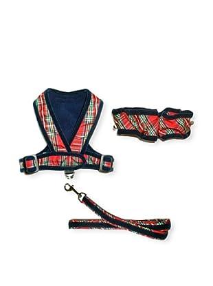 My Canine Kids Precision Fit Harness, Neck Scrunchie & Lead Gift Set (Plaid/Navy Velvet)