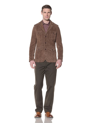 Hart Schaffner Marx Men's Suede Military Blazer (Brown)