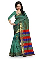 Shree Sanskruti Rama Green Color Tassar Silk Saree For Women