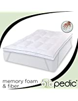 BioPEDIC Memory Plus Deluxe 3-Inch Memory Foam and Fiber Bed Topper with Anchorbands, Queen, White