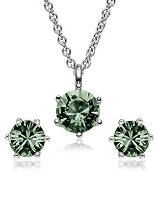 Saint Francis Crystals Set, 3-teilig Kette und Ohrstecker Made With Swarovski® Elements silberfarben/grün