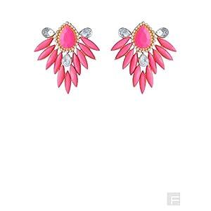 Candy Cane Drop Earrings-Dark pink-FS