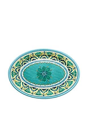 Medallion Melamine Oval Platter, Blue/Yellow
