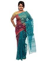 Unique Red and Green Half and half Dhakai Jamdani Cotton Silk Saree (JOSR0000085, Green & Red)