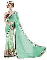 Inddus Women Green & Beige Half & Half Georgette & Art Silk Printed Fashion Saree