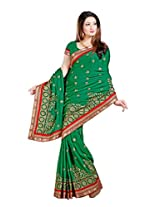 De Marca Green Satin Festive Wear 426 Saree (426)