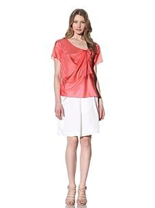 Chloé Women's Draped-Front Silk Top (Vermillion)