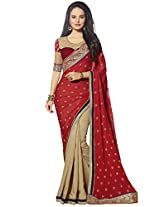 KVS FAB Red Beige Georgette Jacquard Saree