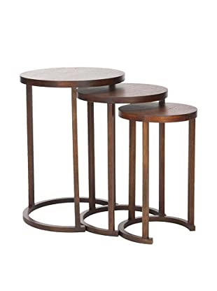 Safavieh Set of 3 Sawyer Stacking Tables, Brown