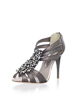 Bourne Women's Leigh T-Strap Sandal (Light Pewter)