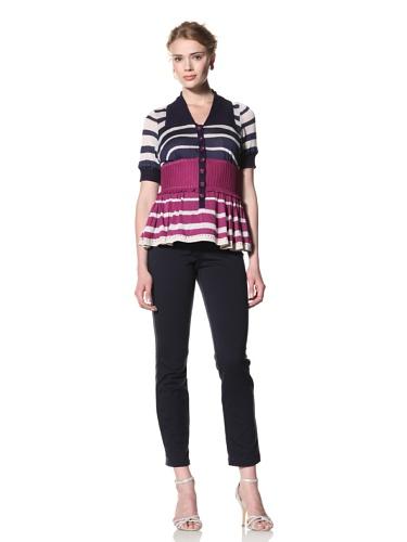 Byron Lars Women's Nautical Stripe Knit Top (Magenta)