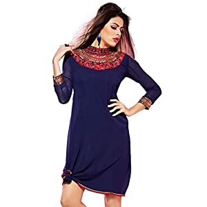 Fabdeal Embroidered Kurti Navy Blue WLKRK59TPDT