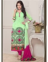 Saara Light Green And Pink Embroidered Dress Material - 142D3037