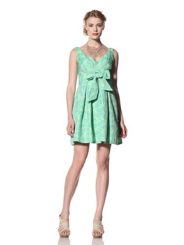 Eva Franco Women's Alexa V-Neck Fit & Flare Dress with Tie Belt (Citrus Orchid)