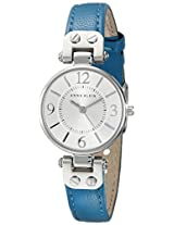 Anne Klein Women's 10/9443SVTE Silver-Tone and Teal Leather Strap Watch