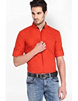 Solid Orange Casual Shirt