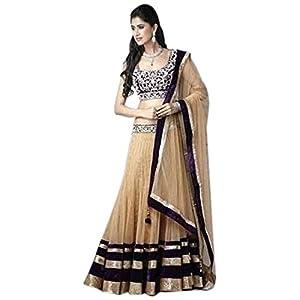 Beige & Black Colored Designer Bollywood Style Replica Velvet Material Lehenga by Zealforfashion