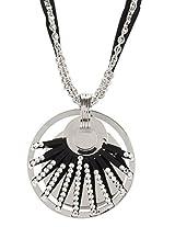 Golden Peacock Silver & Black Necklace