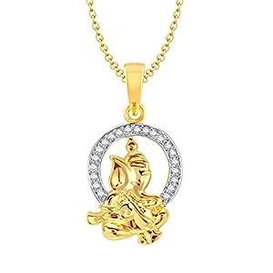 Meenaz Vighnaharta Ganesh Gold and Rhodium Plated CZ God Pendant GP112