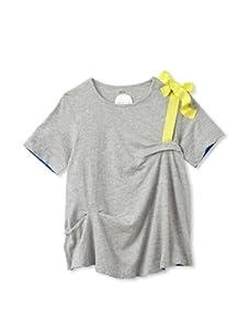 kicokids Girl's Horizontal Tuck Pleat Tee (Grey)