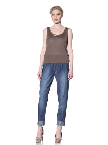 Moschino Cheap and Chic Women's Safety Pin Neckline Sleeveless Top (Taupe)