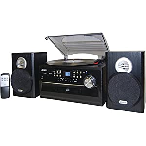 Jensen JTA475B 3-Speed Turntable with CD, AM/FM Stereo Radio, Cassette and Remote