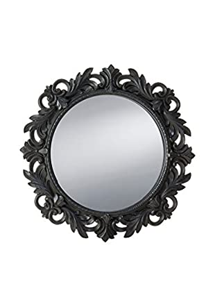 Prinz Florence Round Mirror with Border, Black
