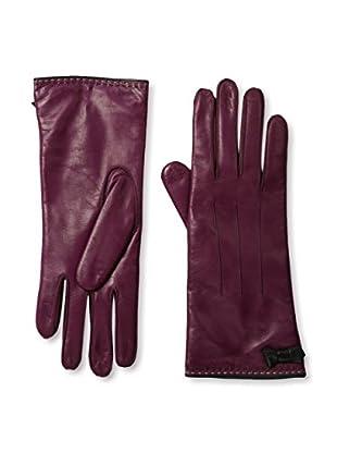 Portolano Women's Contrast Piping Leather Gloves (Bordeaux/Black)