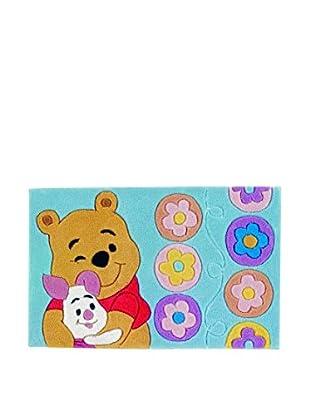 Abc Alfombra Mechón Mano Winnie The Pooh Celeste 50 x 80 cm