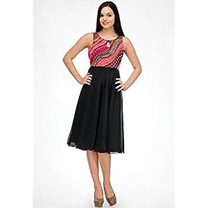 Sleeve Less Black Printed Dress