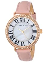 Anne Klein Womens AK/1616RGLP Watch with Swarovski Crystals and Leather Band