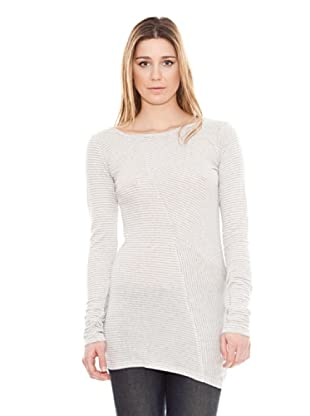 Calvin Klein Jeans Camiseta Rayas Cuello Barco M / L (Blanco / Gris)