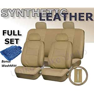 Full Set Pu LEATHER Universal Synthetic 11pc Car Seat Covers Solid TAN Color Free Bonus Steering Whe...