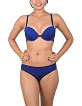 Sugar Lips Satin Lingerie Set (S11, Blue, 38C)