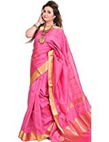 Exotic India Chateau-Rose Saree from Banaras with Woven Bootis and Zari B - Pink