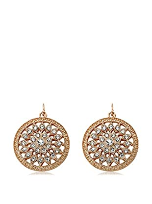 Riccova Country Chic Rose Gold Plated Crystal Flower Center Medallion Dangle Earrings On Fishhook/White Metal