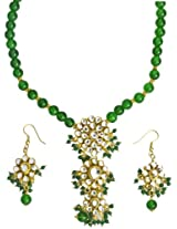 Exotic India Islamic-Green Beaded Necklace Set with Kundan - Copper Alloy